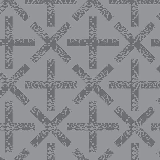 Art Theory - X & + in Medium Gray  - Alison Glass for Andover - A-9704-L - Half Yard