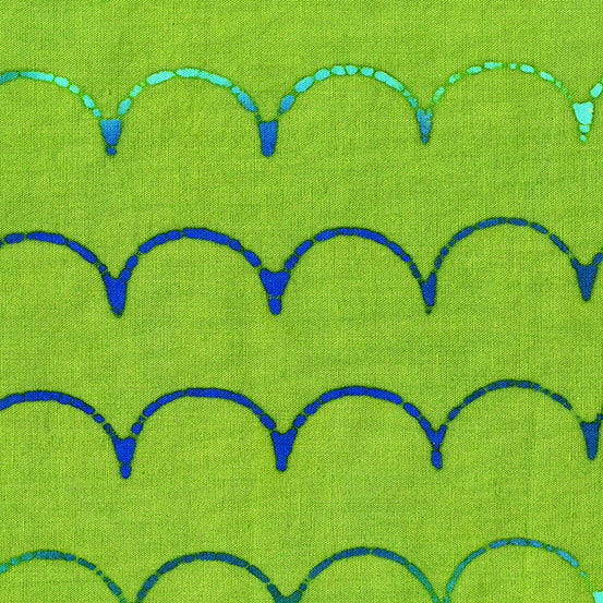 PREORDER - Stitched - Scallop in Turtle - Alison Glass for Andover - AB-9042-G - Half Yard