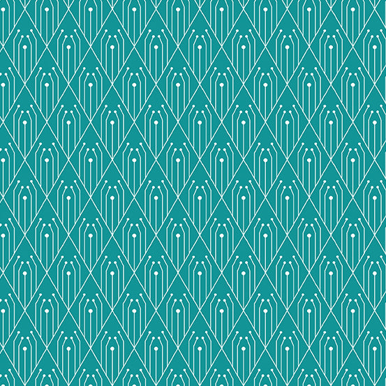 Deco - Diamonds in Teal - Giucy Giuce for Andover Fabrics - CS-29-TEAL - Half Yard