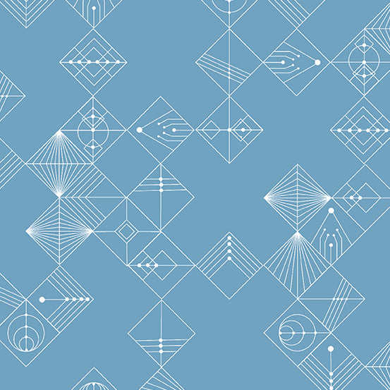Deco - Tiles in Chambray Blue - Giucy Giuce for Andover Fabrics - CS-31-CHAMBRAYBLUE - Half Yard