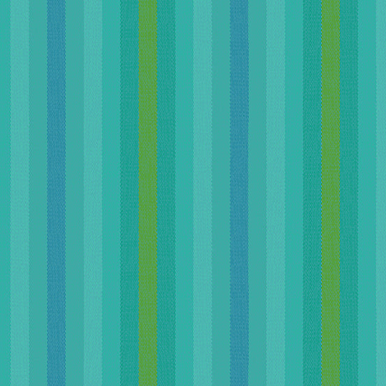 Kaleidoscope Stripes + Plaids - Stripe in Teal - Alison Glass for Andover - WV-9540-TEAL - 1/2 Yard