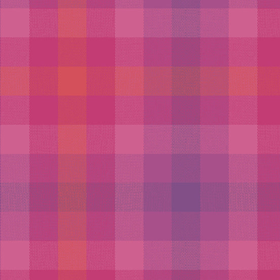 Kaleidoscope Stripes + Plaids - Plaid in Magenta - Alison Glass for Andover - WV-9541-MAGENTA - 1/2 Yard