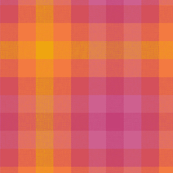 Kaleidoscope Stripes + Plaids - Plaid in Sunrise - Alison Glass for Andover - WV-9541-SUNRISE - 1/2 Yard