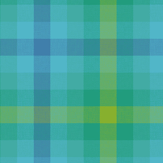 Kaleidoscope Stripes + Plaids - Plaid in Teal - Alison Glass for Andover - WV-9541-TEAL - 1/2 Yard