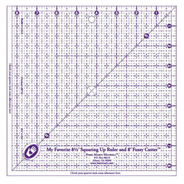 "Marti Michell - My Favorite 8-1/2"" Squaring Up Ruler - Acrylic Ruler"