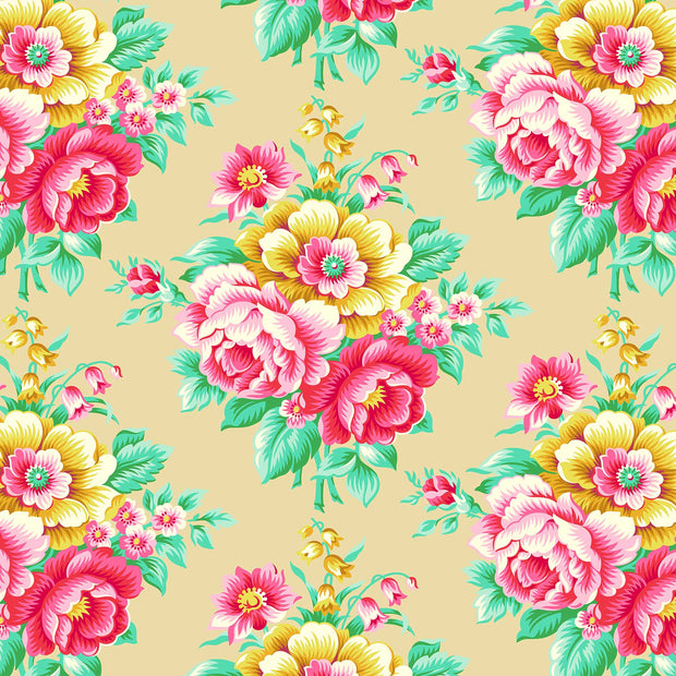 True Kisses - Flirty Floral in Sand - Heather Bailey for Figo Fabrics - 90361-14 - Half Yard