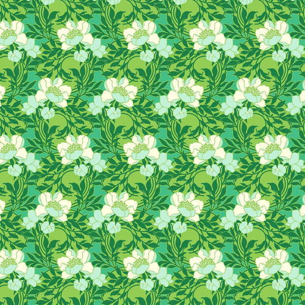 True Kisses - Flirty Kisses in Grass - Heather Bailey for Figo Fabrics - 90363-76 - Half Yard