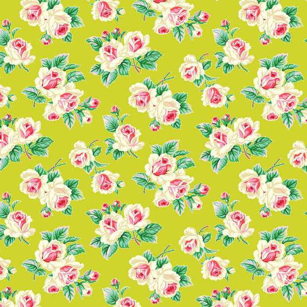 True Kisses - Rose Bunch in Chartreuse - Heather Bailey for Figo Fabrics - 90364-72 - Half Yard