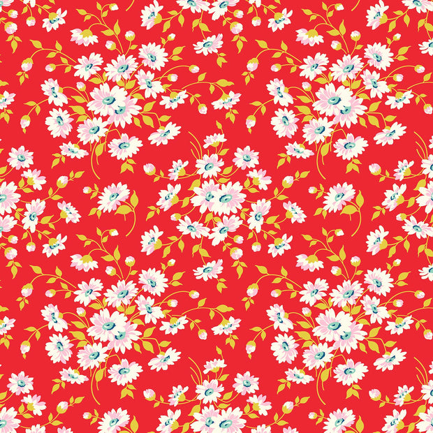 True Kisses - Dream Floral in Red - Heather Bailey for Figo Fabrics - 90365-26 - Half Yard