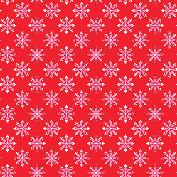 True Kisses - Geo Floral in Red - Heather Bailey for Figo Fabrics - 90368-26 - Half Yard