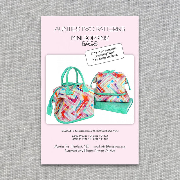 Mini Poppins Bags - Bag Pattern - Aunties Two - Paper Pattern