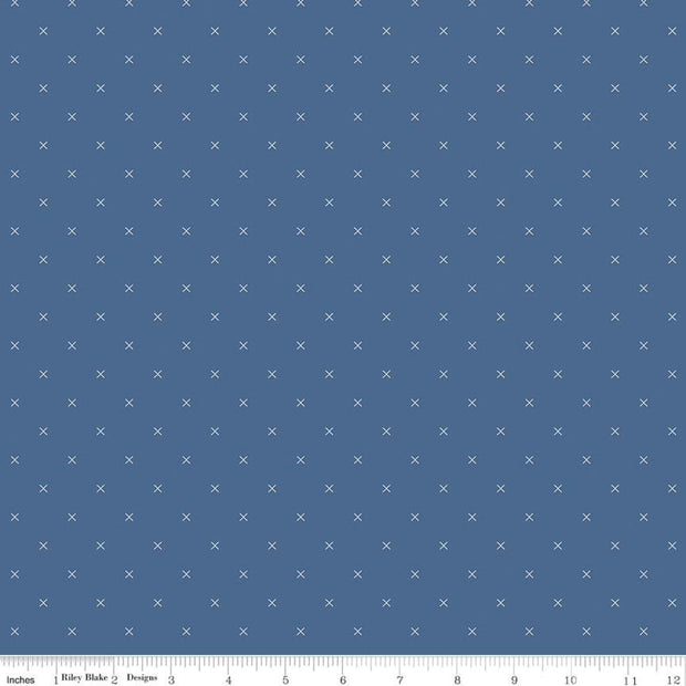 Bee Cross Stitch - Bee Cross Stitch in Denim - Lori Holt for Riley Blake - C745-DENIM - Half Yard