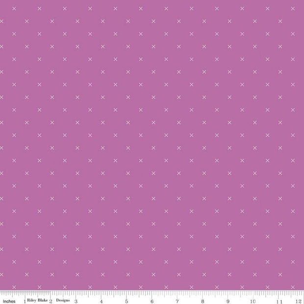 Bee Cross Stitch - Bee Cross Stitch in Plum - Lori Holt for Riley Blake - C745-PLUM - Half Yard
