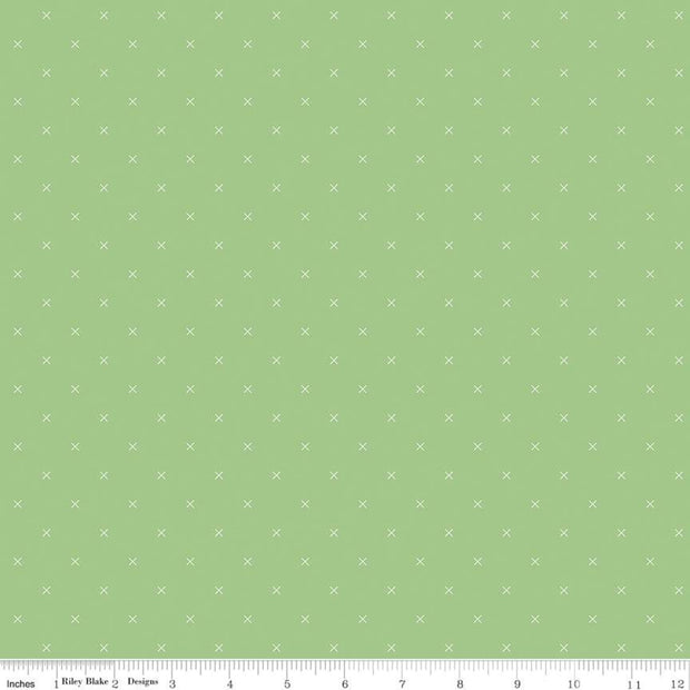 Bee Cross Stitch - Bee Cross Stitch in Riley Green - Lori Holt for Riley Blake - C745-RILEYGREEN - Half Yard