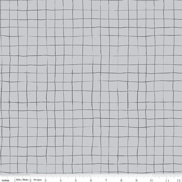 Scaredy Cat - Grid in Gray - Riley Blake - C9416-GRAY - Half Yard