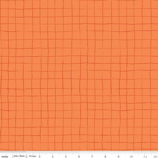 Scaredy Cat - Grid in Orange - Riley Blake - C9416-ORANGE - Half Yard