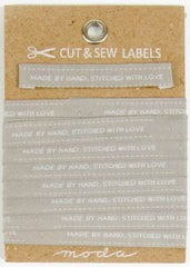 Moda Cut & Sew Labels - Made by Hand in Gray (998-32) - 1 package