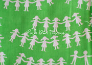 Kinder - Paper Dolls in Green - Heather Ross for Windham Fabrics - 43485-6  - 1/2 yard