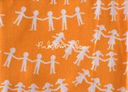 Kinder - Paper Dolls in Orange - Heather Ross for Windham Fabrics - 43485-5  - 1/2 yard