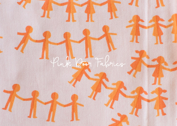 Kinder - Paper Dolls in Pink Orange - Heather Ross for Windham Fabrics - 43485-10  - 1/2 yard