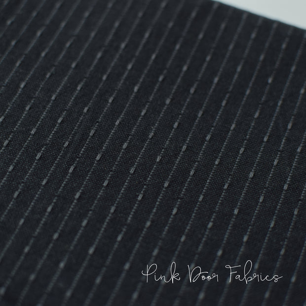 Manchester - Stitch Stripe in Black - PRF-636 - Half Yard