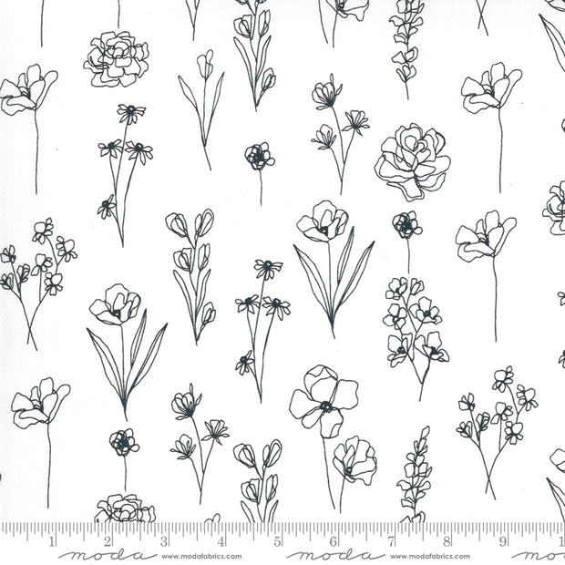Illustrations - Floral Doodle in Paper - Alli K Design for Moda Fabrics - 11505-11 - Half Yard