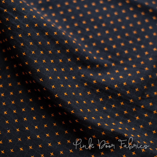 Manchester - Plus in Black Orange - MANCH 3205 - Half Yard