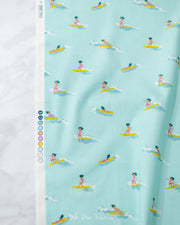 Malibu - Tiny Surfer in Sea Foam COTTON LAWN - Heather Ross for Windham - 52146L-6 - Half Yard