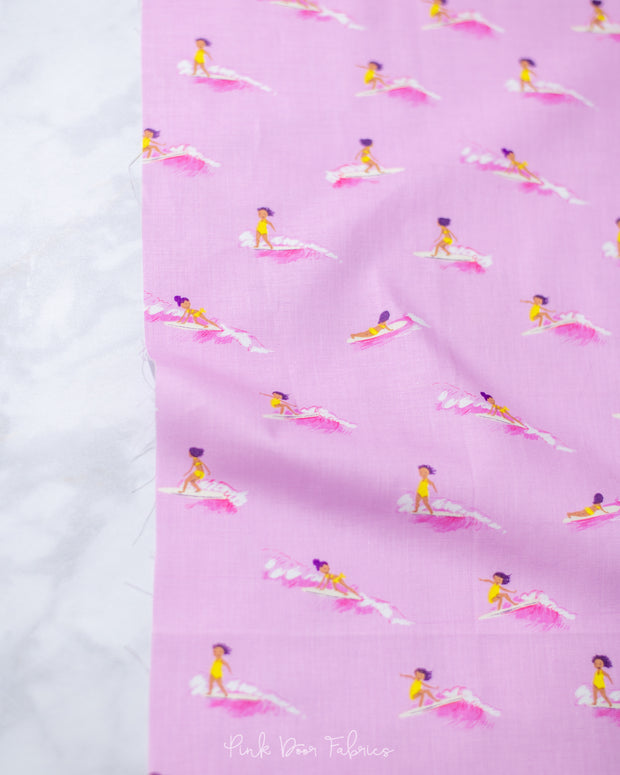 Malibu - Tiny Surfer in Pink - Heather Ross for Windham - 52146-7 - Half Yard