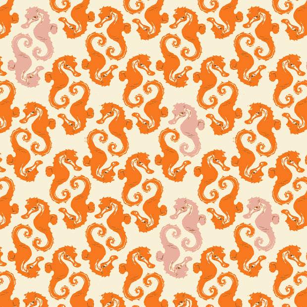 Heather Ross 20th Anniversary - Seahorses in Orange - Heather Ross for Windham - 40941A-15 - Half Yard