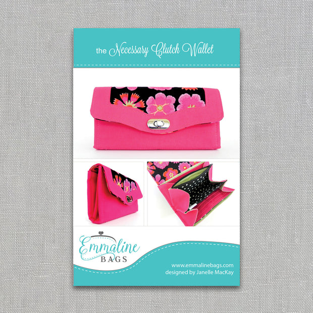 Necessary Clutch Wallet - Sewing Pattern - Emmaline Bags - Paper Pattern