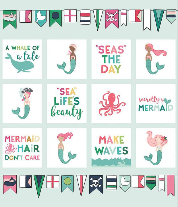 "Ahoy! Mermaids - 36"" x 43.5"" Panel -  Melissa Mortenson for Riley Blake - P10348 - Panel"