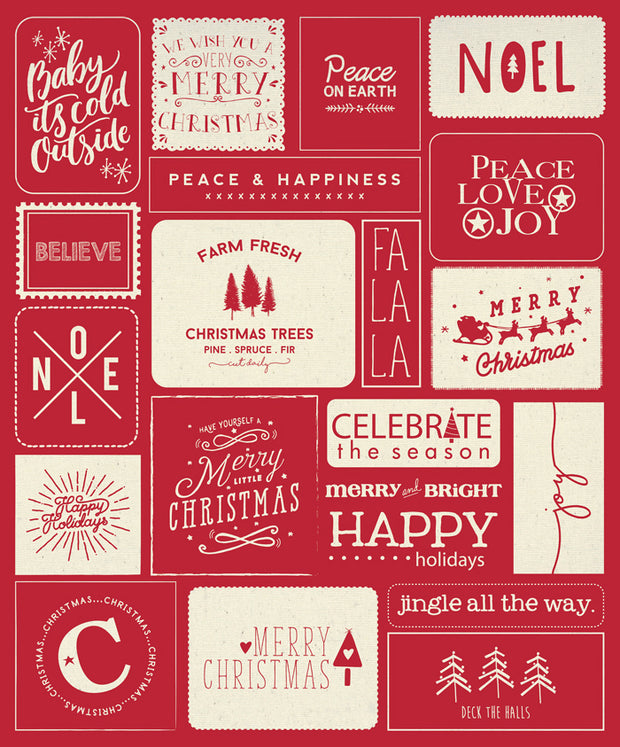 "Printworks Holiday - 54"" x 65"" Christmas Wishes Red Quilt Panel - Sweetwater for Moda - 5766 12P - Panel"