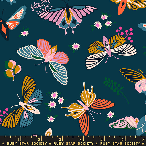 Stay Gold - Flutter in Peacock - Melody Miller for Ruby Star Society - RS0020-14 - Half Yard