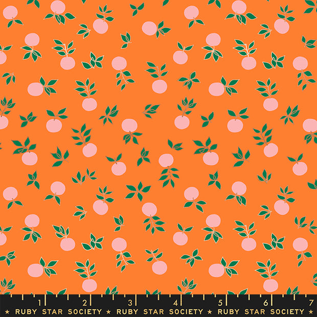 Stay Gold - Blossom in Metallic Orange - Melody Miller for Ruby Star Society - RS0024-13M - Half Yard