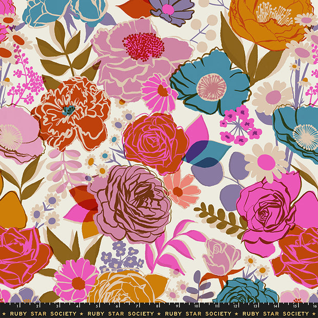 "Rise - Rise Small Floral 108"" WIDEBACK in Shell - Melody Miller for Ruby Star Society - RS11165 11 - Half Yard"