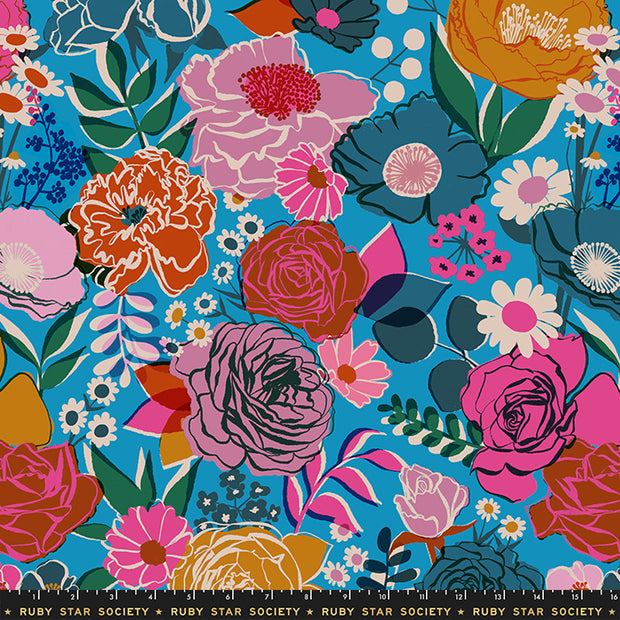 "Rise - Rise Small Floral 108"" WIDEBACK in Bright Blue - Melody Miller for Ruby Star Society - RS11165 12 - Half Yard"