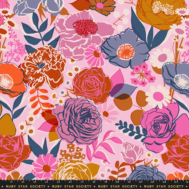 "Rise - Rise Small Floral 108"" WIDEBACK in Peony - Melody Miller for Ruby Star Society - RS11165 13 - Half Yard"