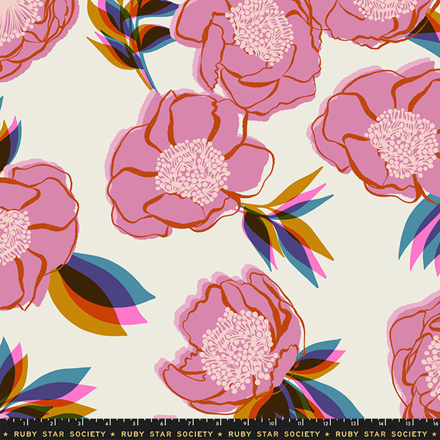 "Rise - Rise Large Floral 108"" WIDEBACK in Shell - Melody Miller for Ruby Star Society - RS11168 11 - Half Yard"