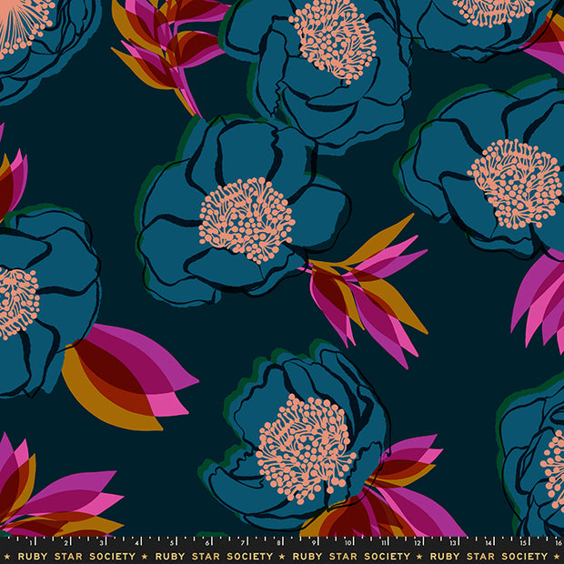 "Rise - Rise Large Floral 108"" WIDEBACK in Dark Teal - Melody Miller for Ruby Star Society - RS11168 12 - Half Yard"