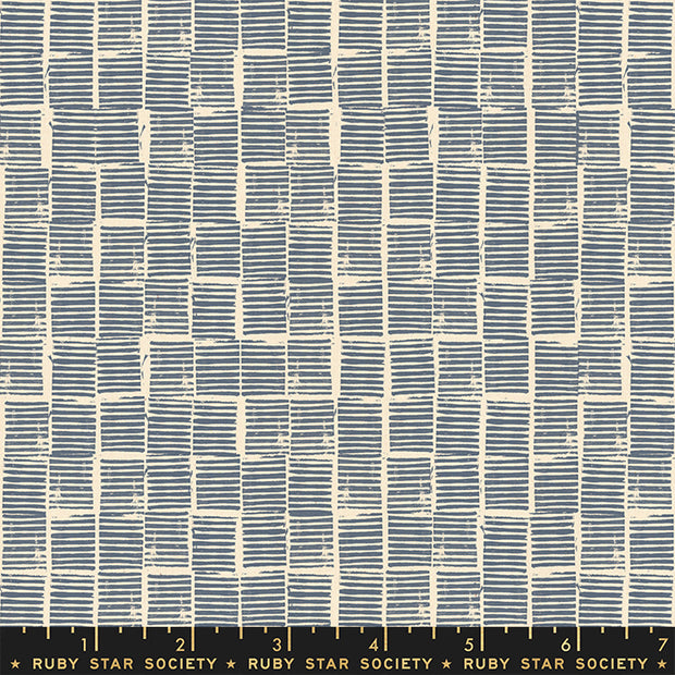 Heirloom - Stripe Stamp in Blue - Alexia Abegg for Ruby Star Society - RS4029-15 - Half Yard