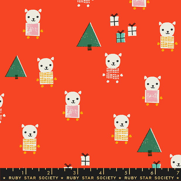 Flurry - Meowy Christmas in Ruby - Ruby Star Society - RS5030 13 - Half Yard
