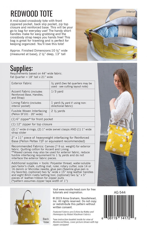 Redwood Tote - Paper Pattern - Noodlehead - AG-544