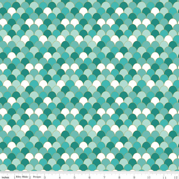 Ahoy! Mermaids - Scales in Seafoam Sparkle - Melissa Mortenson for Riley Blake - SC10345-Seafoam - Half Yard