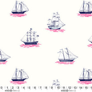 Out to Sea - My Favorite Ship in Bloom - Michael Miller Fabrics - DC5622-BLOM-D - Half Yard