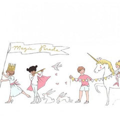 Magic - Magical Parade Double Border in White Metallic - Sarah Jane for Michael Miller - MD7188-WHIT-D - 1/2 Yard