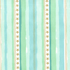 Magic -  Stars and Stripes in Aqua Metallic - Sarah Jane for Michael Miller - MD7195-AQUA-D - 1/2 Yard