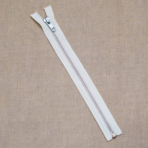 "Zipper - 10"" Nickel Separating Zipper - White - SEP10WHT"