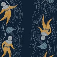 Aweigh North - Deep Sea Diver in Navy -  Rae Ritchie for Dear Stella - ST-SRR1056NA - Half Yard