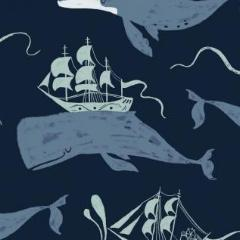 Aweigh North - Whale Ships in Navy -  Rae Ritchie for Dear Stella - ST-SRR1060NA - Half Yard
